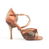 brons satijnen dansschoenen pd801